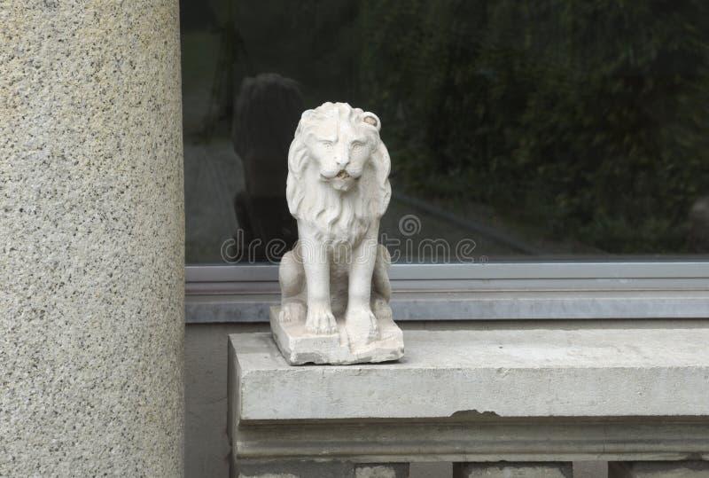 Statua del leone fuori della finestra immagine stock libera da diritti