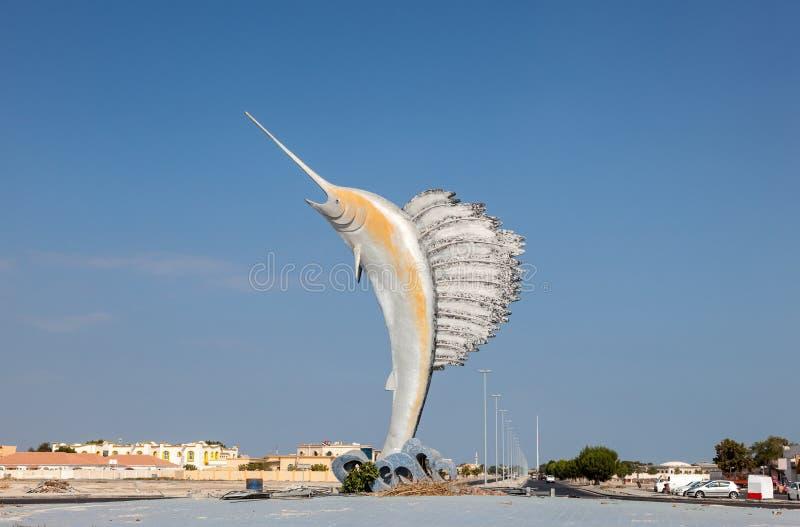Statua del pesce vela del Pacifico in Umm Al Quwain immagine stock libera da diritti