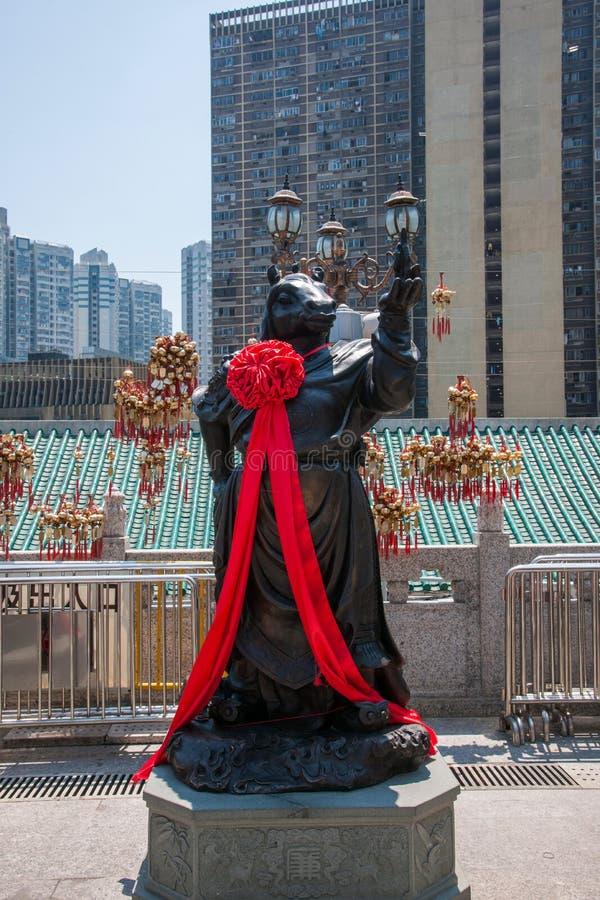 Statua del rame di Wong Tai Sin Temple Zodiac immagine stock libera da diritti