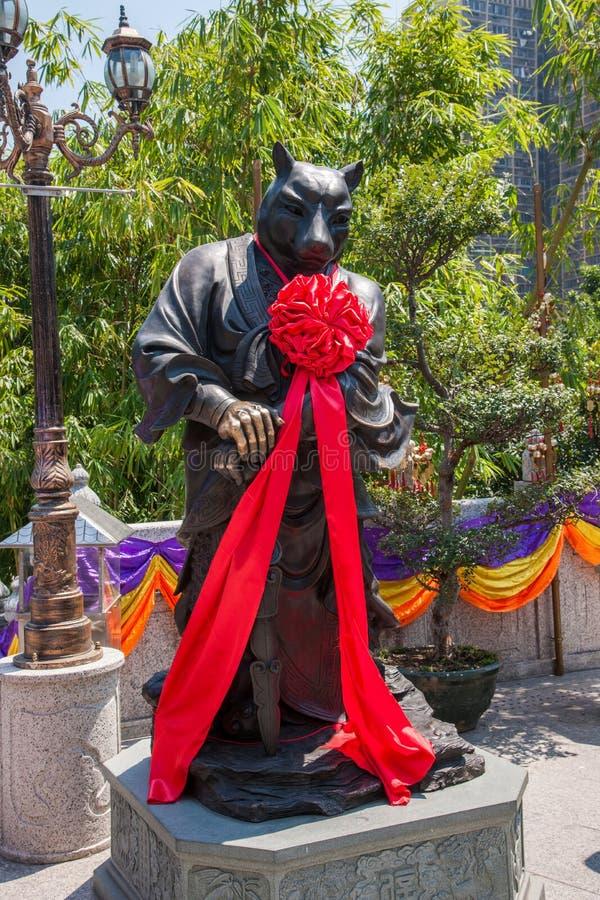 Statua del rame di Wong Tai Sin Temple Zodiac immagini stock libere da diritti
