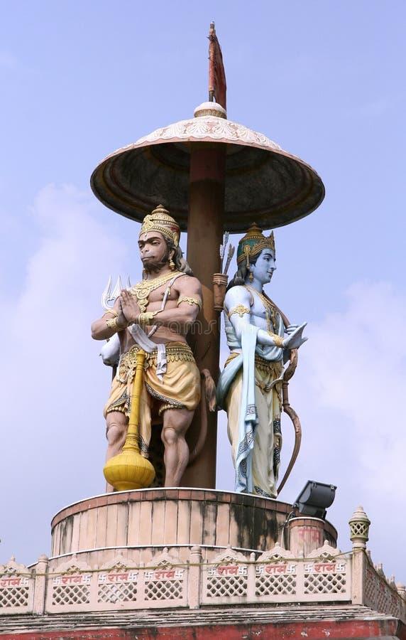 Statua del signore ram e hanuman fotografia stock