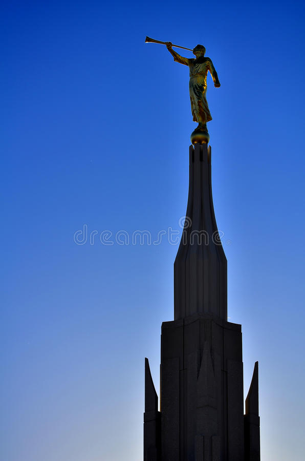 Statua del tempio mormonico LDS di Phoenix di Moroni Angel fotografie stock