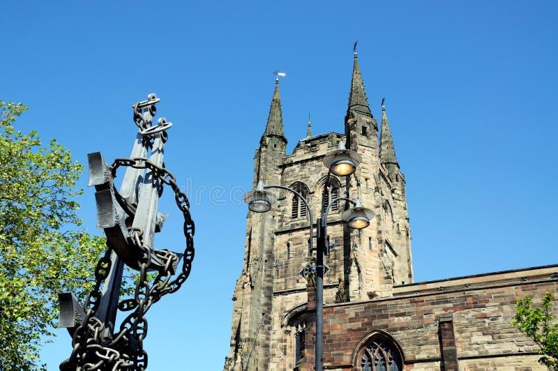 Statua dell'ancora e della chiesa, Tamworth immagini stock