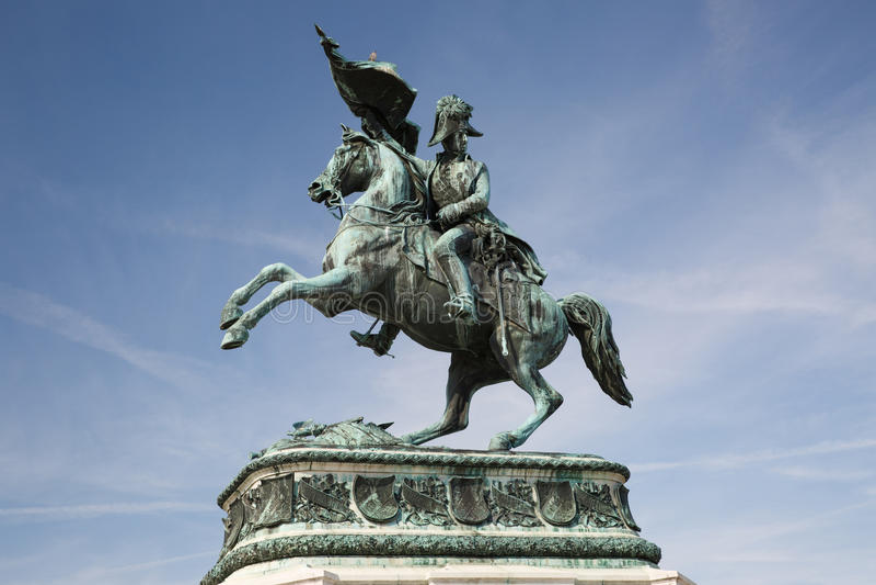 Statua dell'arciduca Charles dell'Austria, duca di Teschen su Th fotografia stock libera da diritti