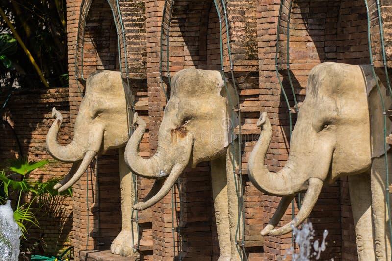 Statua dell'elefante nello zoo di Chiangmai, Tailandia fotografia stock