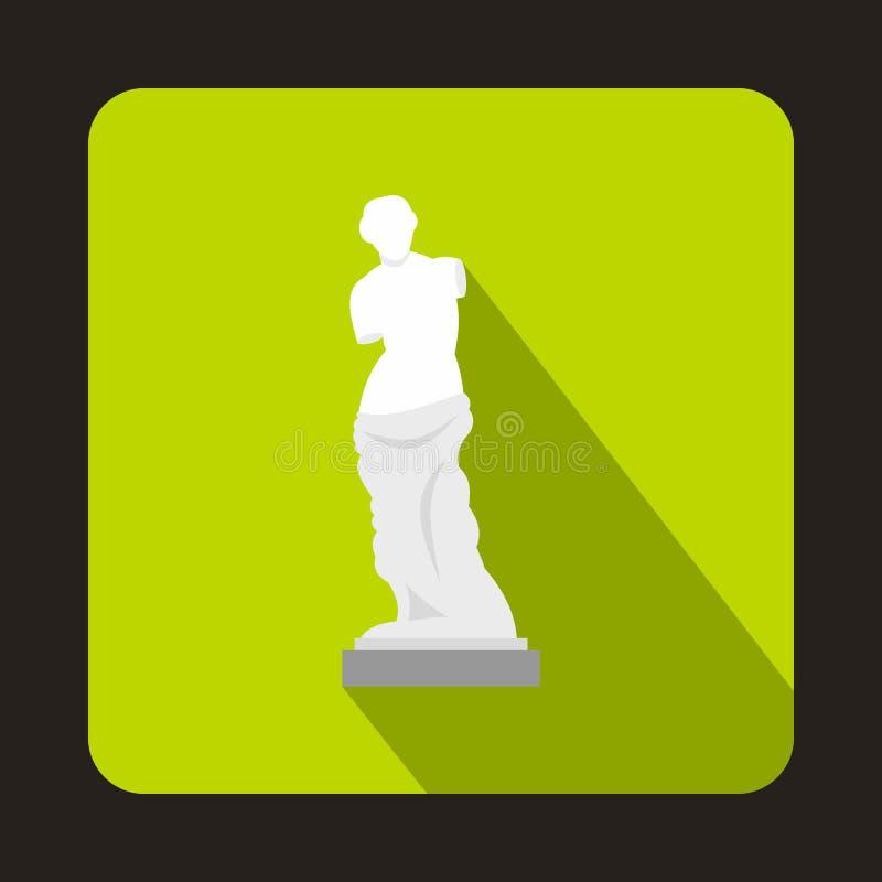Statua dell'icona di Venus de Milo, stile piano illustrazione vettoriale