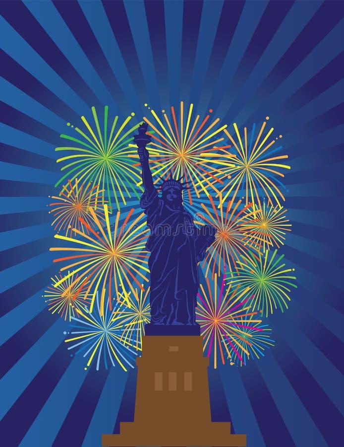 Statua dell'illustrazione di vettore di Liberty Fireworks Night illustrazione vettoriale