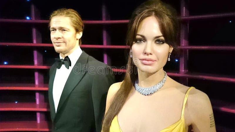 Statua della cera di Angelina Jolie And Brad Pitt fotografia stock libera da diritti