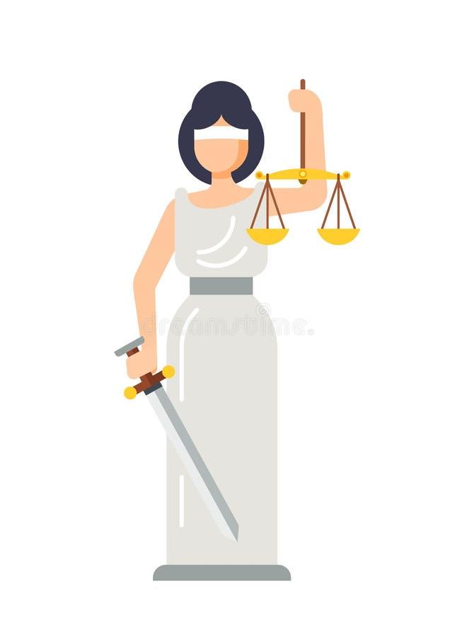 Statua della dea antica di signora Themis della giustizia illustrazione vettoriale