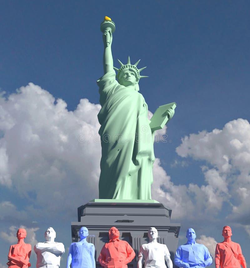 Statua della gente di Liberty American in basso poli fotografia stock
