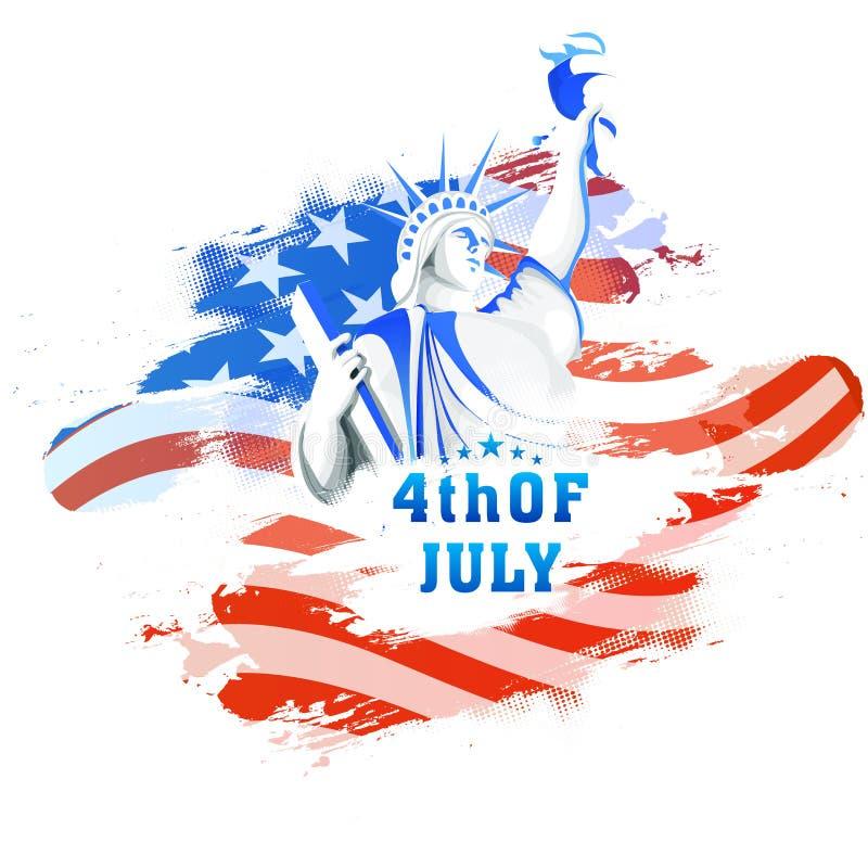 Statua della libertà per la quarta della celebrazione di luglio illustrazione di stock