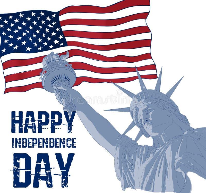 Statua della libertà su un fondo della bandiera americana Progettazione per del 4 la celebrazione U.S.A. luglio Simbolo americano illustrazione vettoriale
