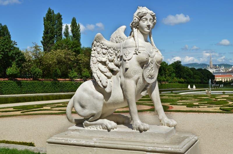 Statua della Sfinge nel belvedere, Vienna, Austria immagine stock libera da diritti