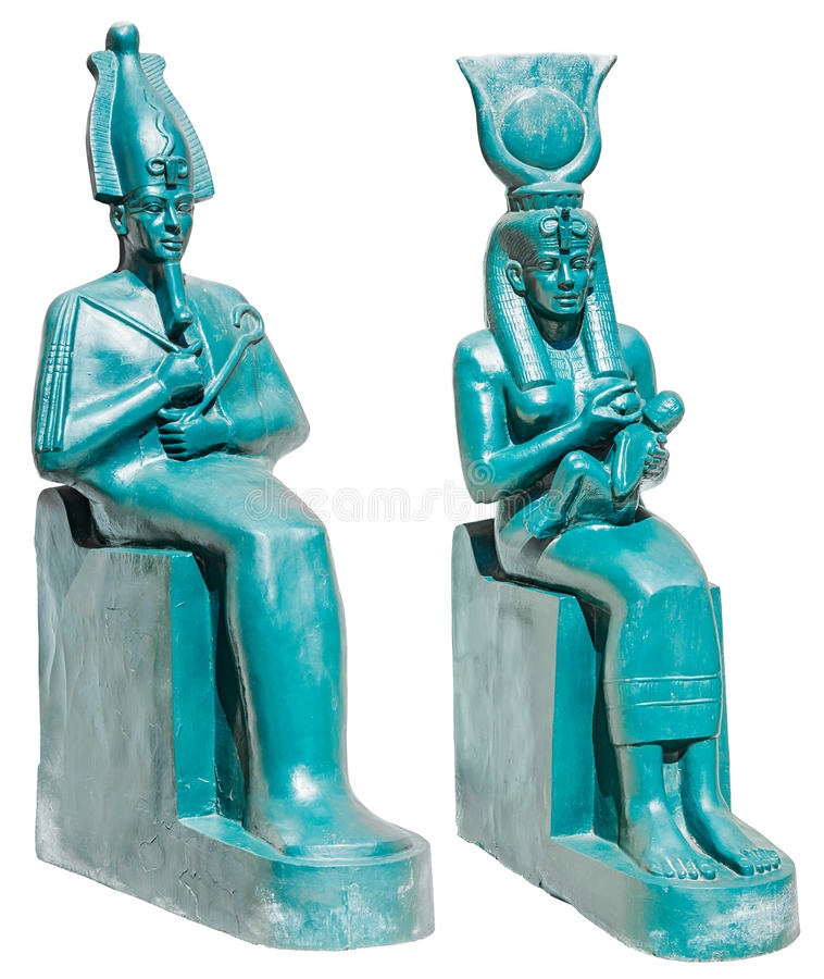 Statua delle divinità Osiris ed ISIS di egitto antico con il isola di Horus immagine stock libera da diritti