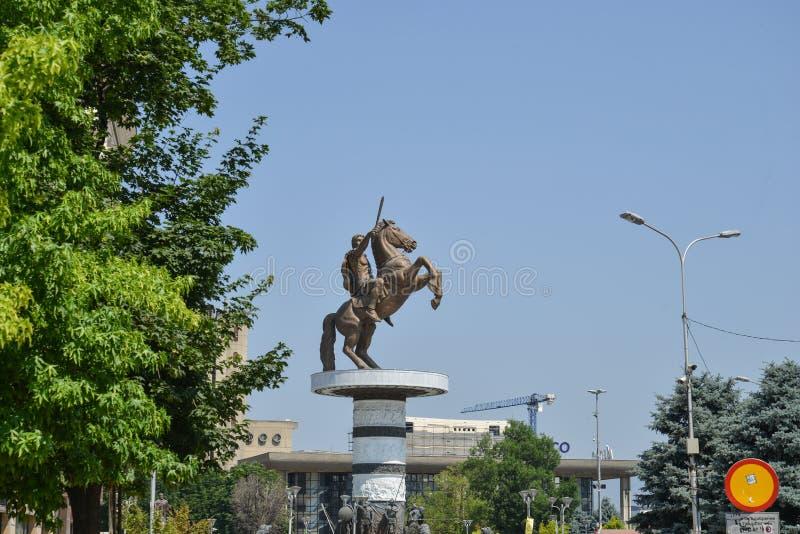 Statua di Alessandro Magno della città dentro di Skopje, Macedonia immagine stock libera da diritti