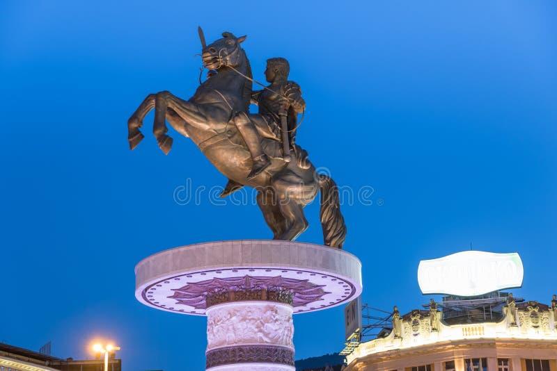 Statua di Alessandro Magno a Skopje fotografia stock libera da diritti