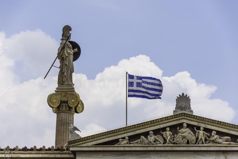 Statua di Atena all'accademia di Atene fotografia stock libera da diritti
