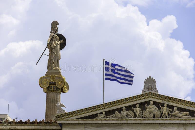 Statua di Atena all'accademia di Atene fotografia stock