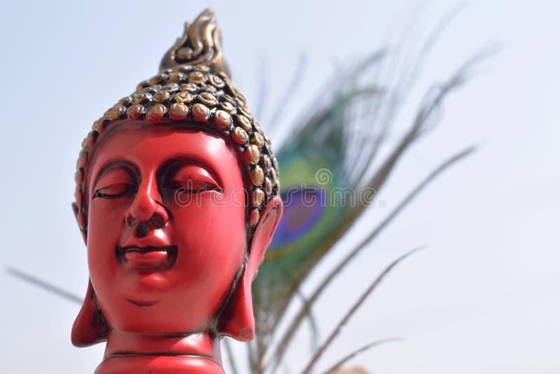 Statua di Buddha con il fondo della piuma del pavone fotografie stock