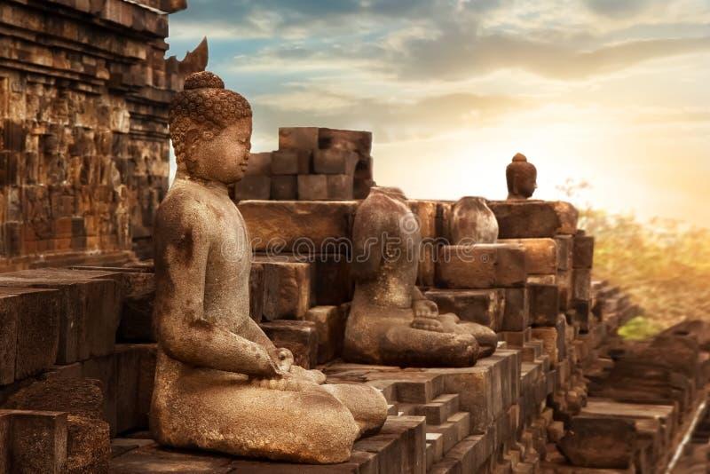 Statua di Buddha contro lo sfondo dell'alba nel tempio di Borobudur Java Island l'indonesia fotografia stock libera da diritti