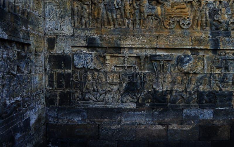 Statua di Buddha e stupa di Borobudur fotografie stock