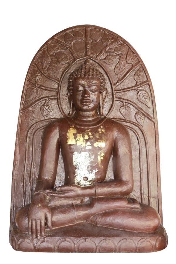 Statua di Buddha usata come amuleti della religione di buddismo sulla parte posteriore di bianco fotografia stock