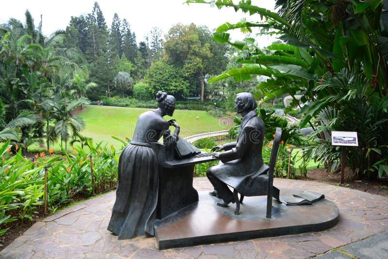 Statua di Chopin al giardino botanico di Singapore immagini stock