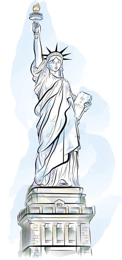 Statua di colore di illustrazione di libertà a New York, S.U.A. illustrazione di stock