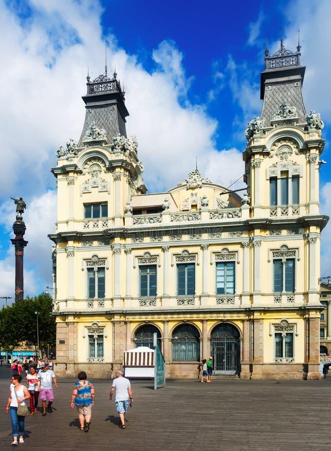 Statua di Columbus e porto Vell di estate Barcellona fotografia stock