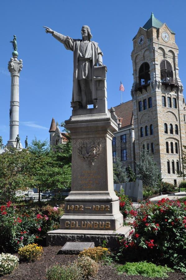 Statua di Columbus, tribunale della contea di Lackawanna, Scranton, Pensilvania fotografia stock