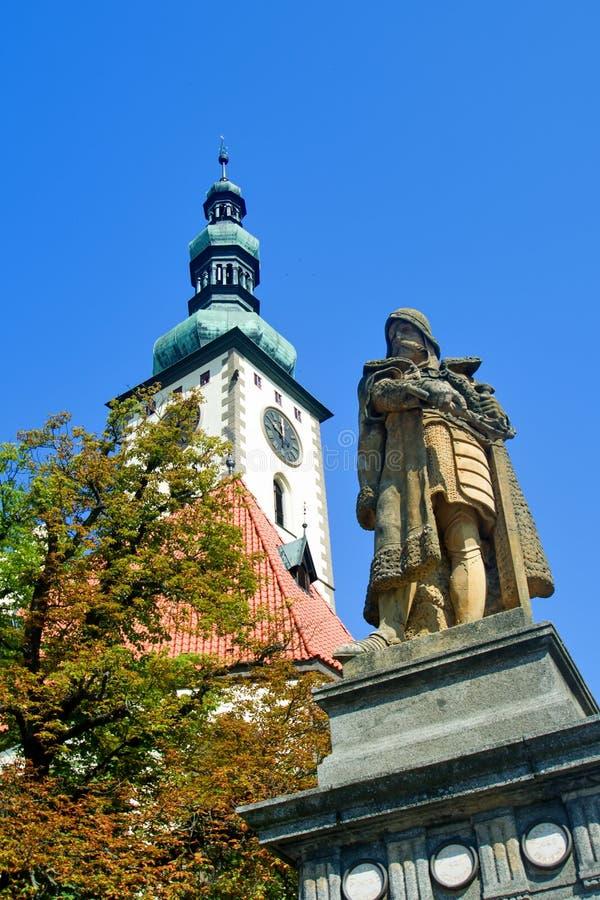 Statua di comandante Jan Zizka tabor immagine stock