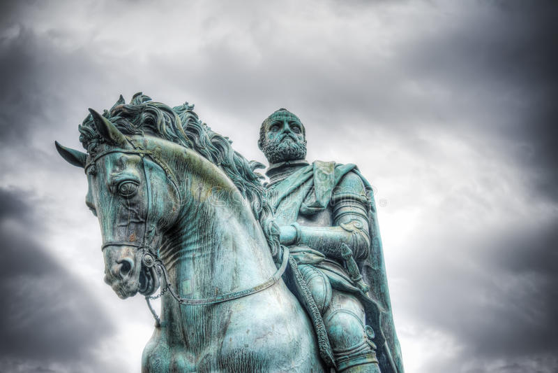 Statua di Cosimo I in della Signoria della piazza a Firenze fotografie stock