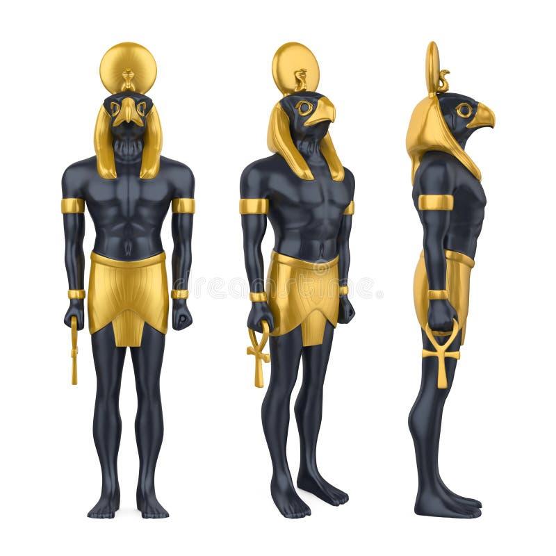 Statua di Dio Horus dell'Egiziano isolata illustrazione di stock