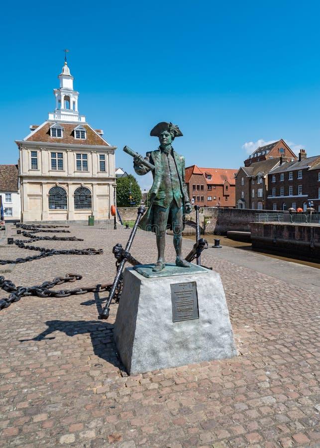 Statua di George Vancouver nel Lynn di re, Norfolk, Inghilterra immagine stock