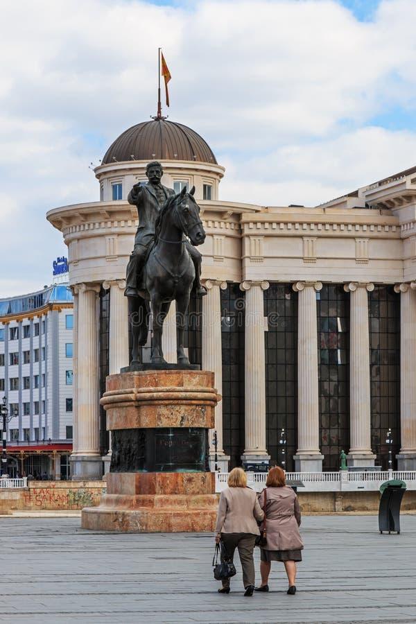 Statua di Goce Delchev, Skopje fotografie stock