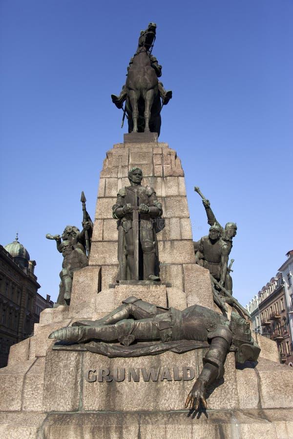 Statua di Grunwald - Cracovia - Polonia fotografia stock libera da diritti