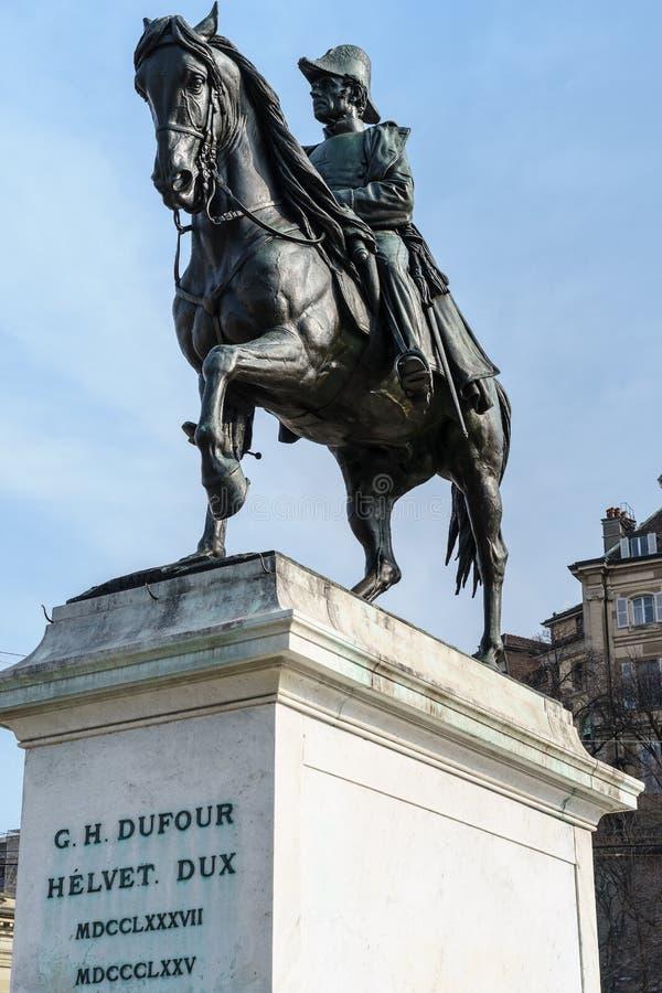 Statua di Guillaume-Henri Dufour, Ginevra, Svizzera fotografia stock libera da diritti