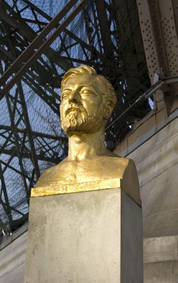 Statua di Gustave Eiffel, Parigi fotografia stock