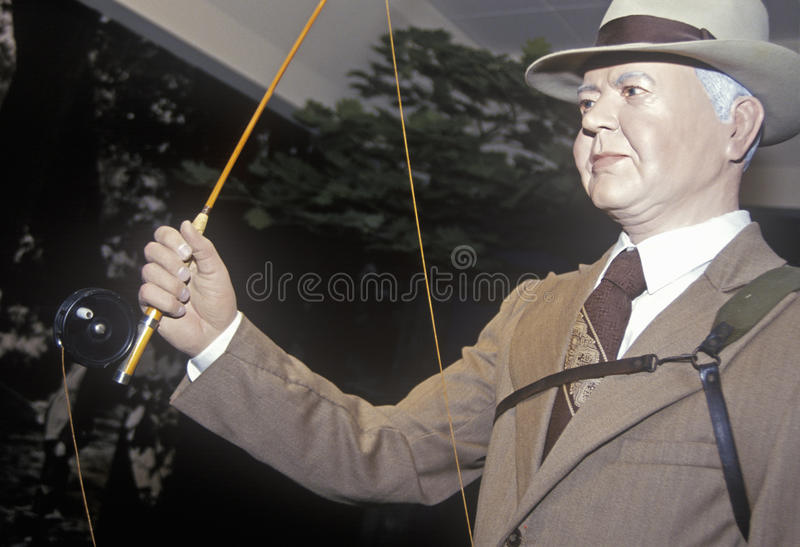Statua di Herbert Hoover With Fishing Rod, ramo ad ovest, Iowa immagini stock