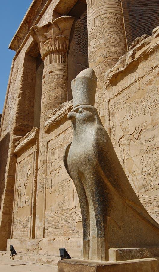 Statua di Horus in tempiale di Edfu immagine stock