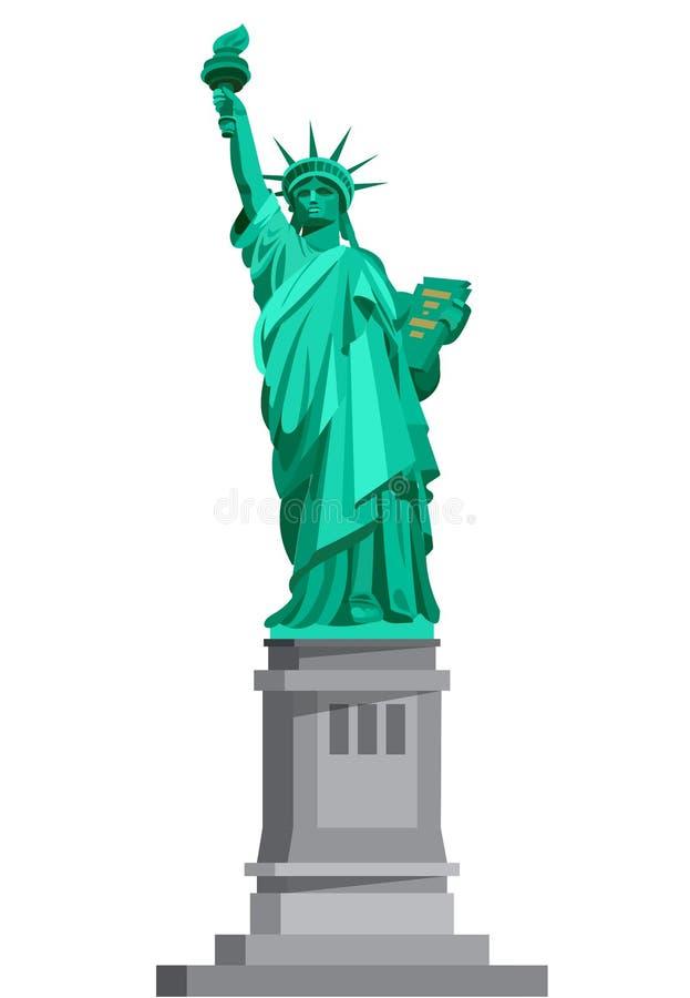 Statua di libertà & del tramonto di New York City U.S.A. royalty illustrazione gratis