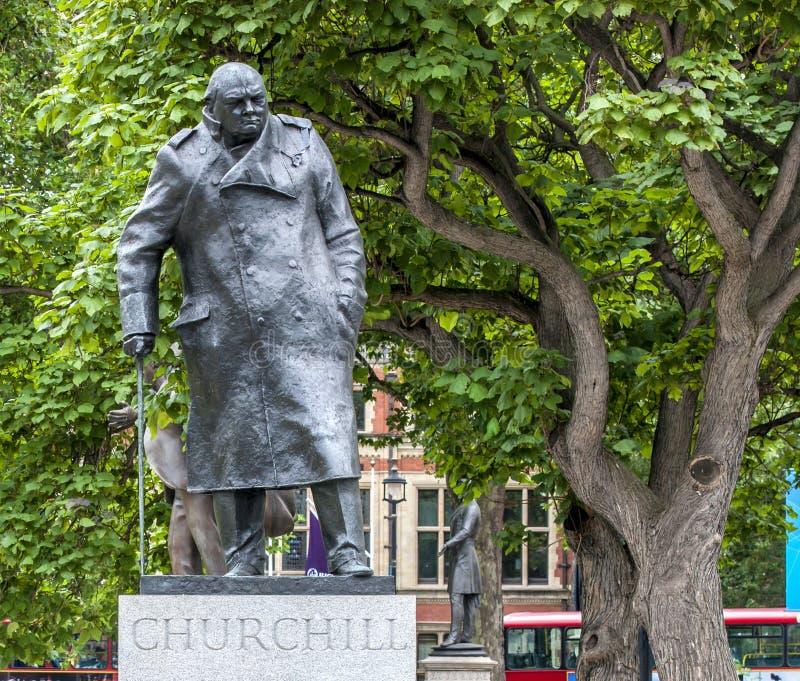 Statua di Londra Churchill immagini stock libere da diritti