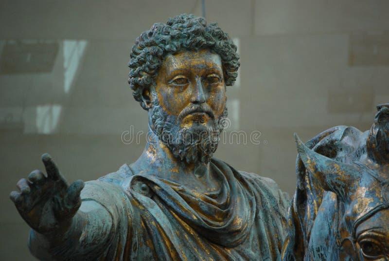 Statua di Marcus Aurelius, museo di Capitolini, Roma fotografia stock