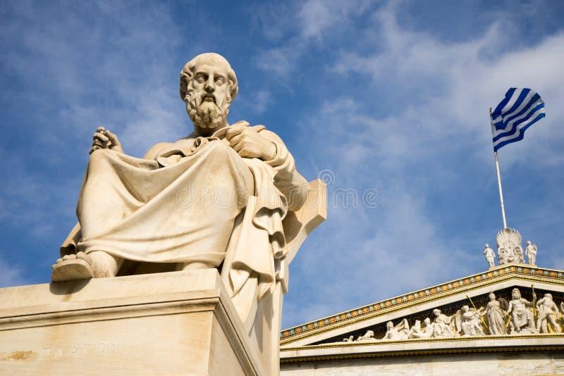Statua di marmo del filosofo Plato del greco antico immagini stock