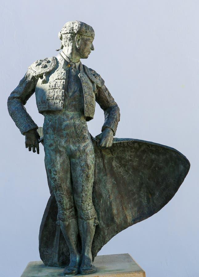 Statua di Matador Ordenez a Ronda, Andalusia, Spagna fotografia stock