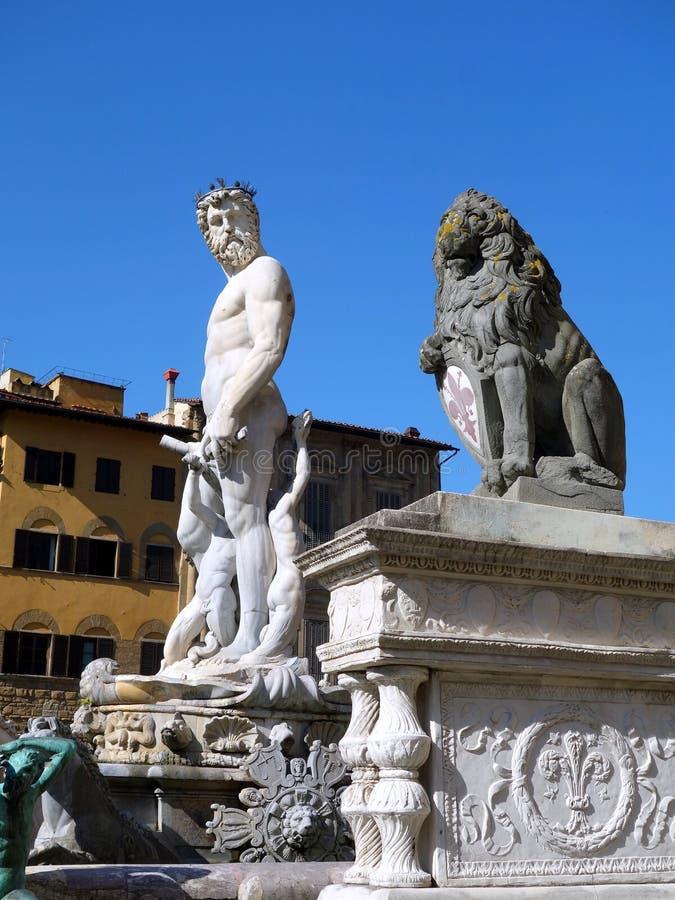 Statua di Nettuno, della Signoria, Firenze, Italia della piazza fotografie stock