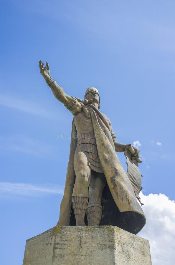 Statua di Nezahualcoyotl, sovrano della città-stato di Texcoco, Messico pre-colombiano fotografia stock