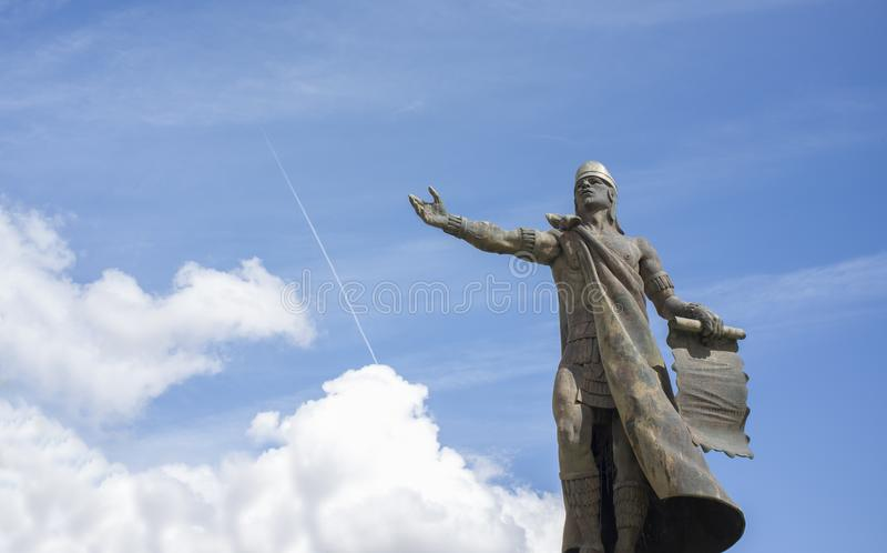 Statua di Nezahualcoyotl, sovrano della città-stato di Texcoco, Messico pre-colombiano immagini stock