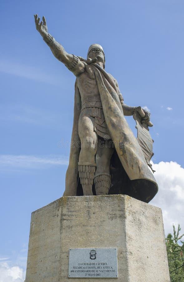 Statua di Nezahualcoyotl, sovrano della città-stato di Texcoco, Messico pre-colombiano immagini stock libere da diritti