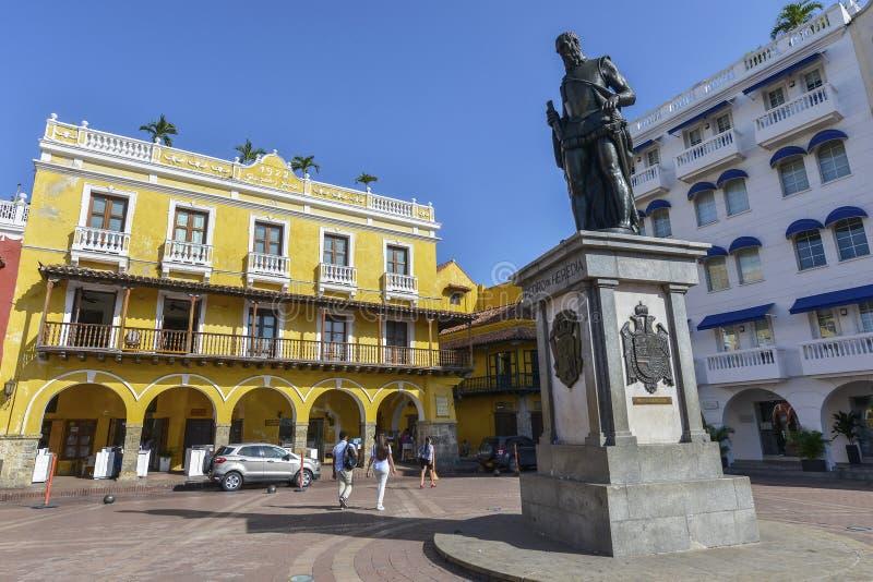 Statua di Pedro Heredia a Cartagine, Colombia immagine stock